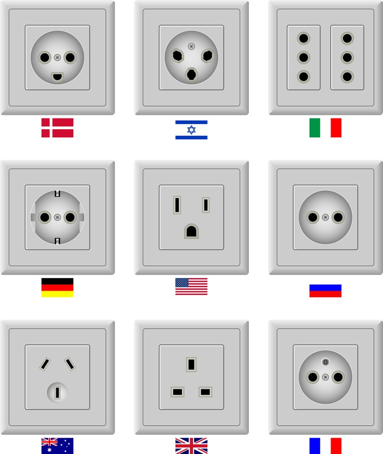 Разъёмы в разных странах мира